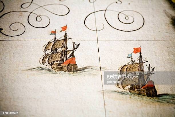 chasing ships - 18th century stock illustrations
