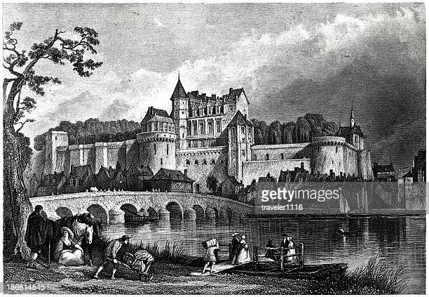 chateau d'amboise - loire valley stock illustrations, clip art, cartoons, & icons