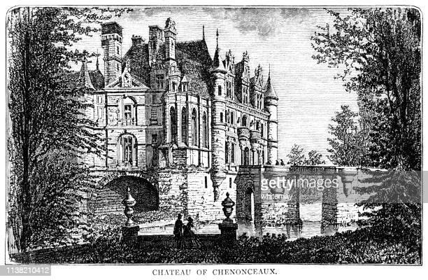 chateau de chenonceau, loire valley, france - loire valley stock illustrations, clip art, cartoons, & icons