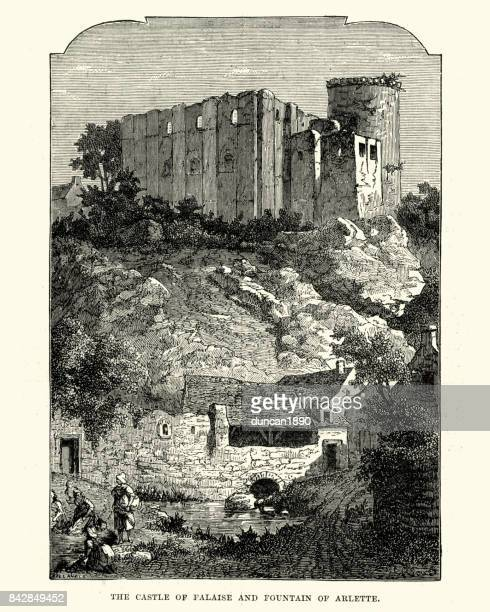 chateau de falaise and fountain of arlette - normandy stock illustrations, clip art, cartoons, & icons