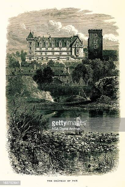 chateau de pau, france i antique european illustrations - france stock illustrations