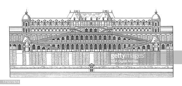 chateau de saint-germain-en-laye, france | antique architectural illustrations - france stock illustrations