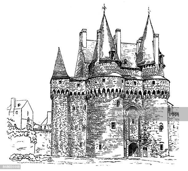 chateau de vitre ,castle in vitre - brittany france stock illustrations, clip art, cartoons, & icons