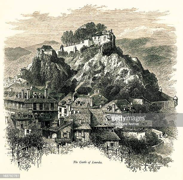 chateau fort de lourdes, france i antique european illustrations - france stock illustrations