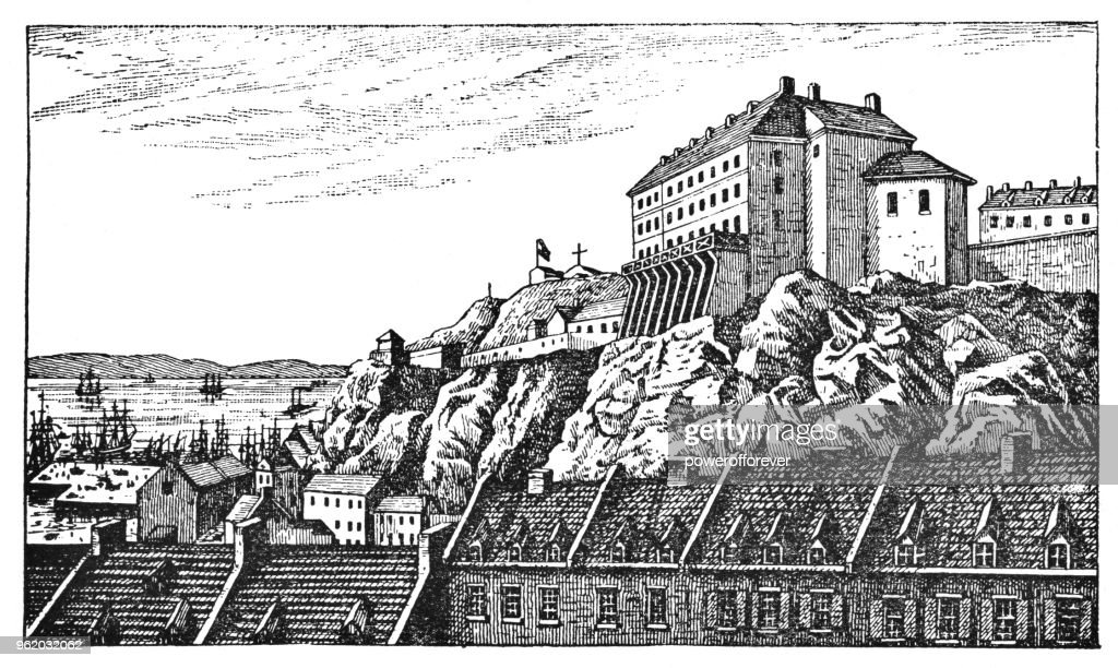 Chateau St. Louis in Quebec City, Quebec, Canada - 19th Century : Stock Illustration