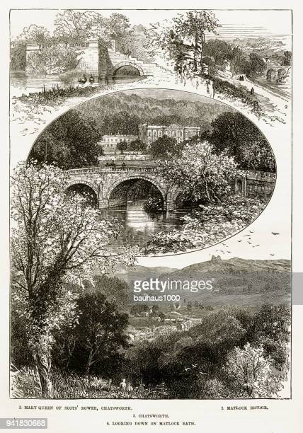 chatsworth house in derbyshire, england victorian engraving, 1840 - northeastern england stock illustrations, clip art, cartoons, & icons