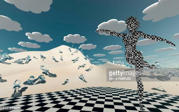 ilustraciones, imágenes clip art, dibujos animados e iconos de stock de checker board covered dancer in chessboard desert - tablero de ajedrez