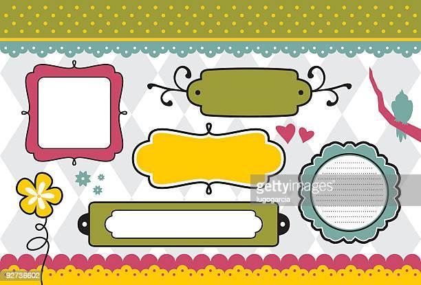 stockillustraties, clipart, cartoons en iconen met cheerful doodle frames - gekarteld