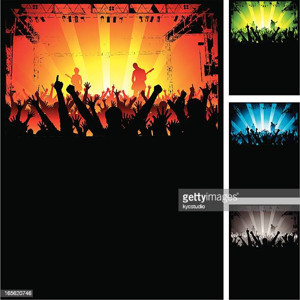 cheering crowd at rock concert - guitarist stock illustrations, clip art, cartoons, & icons