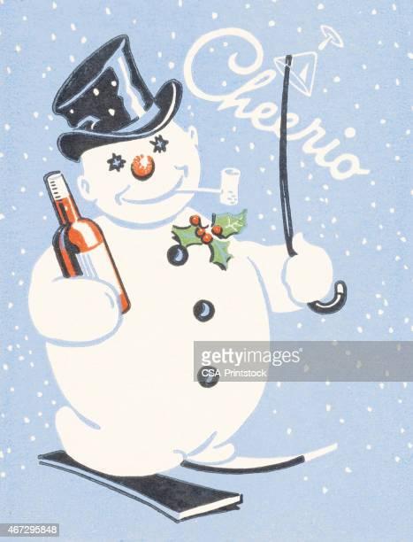 illustrations, cliparts, dessins animés et icônes de cheerio bonhomme de neige - ski humour