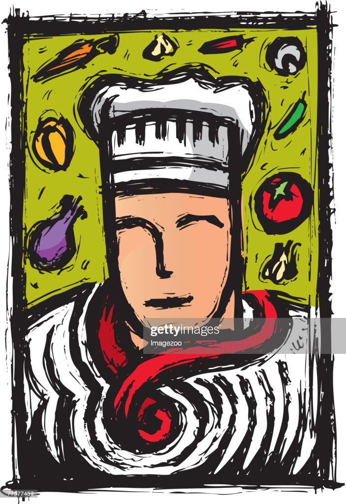 chef and vegetables : Illustration