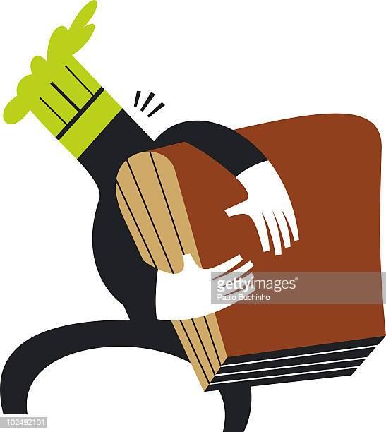 ilustrações de stock, clip art, desenhos animados e ícones de chef carrying large cookbook - buchinho