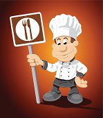 Chef Cartoon Man Food Sign