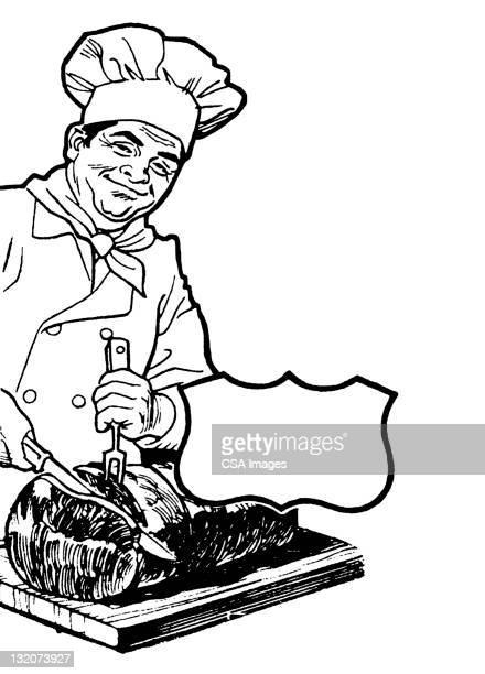 シェフ、お肉を切り分けるお肉 - ローストビーフ点のイラスト素材/クリップアート素材/マンガ素材/アイコン素材