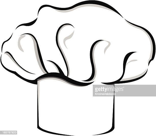 """ilustraciones, imágenes clip art, dibujos animados e iconos de stock de chef perfil en'u"""",chef hat"""" - gorro de chef"""
