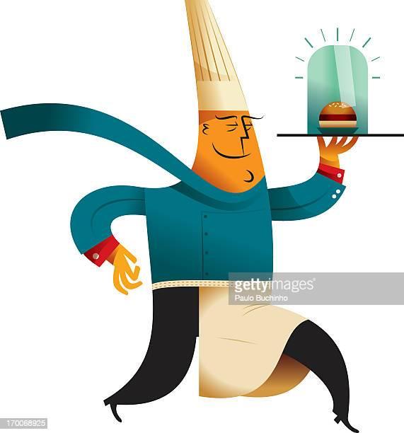 ilustrações de stock, clip art, desenhos animados e ícones de a chef holding a burger - buchinho