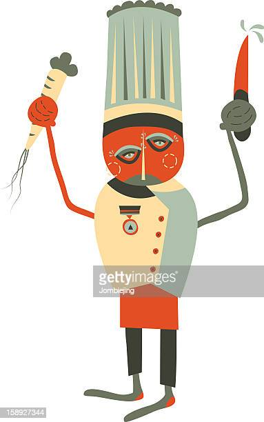 a chef holding a knife and a parsnip - parsnip stock illustrations, clip art, cartoons, & icons
