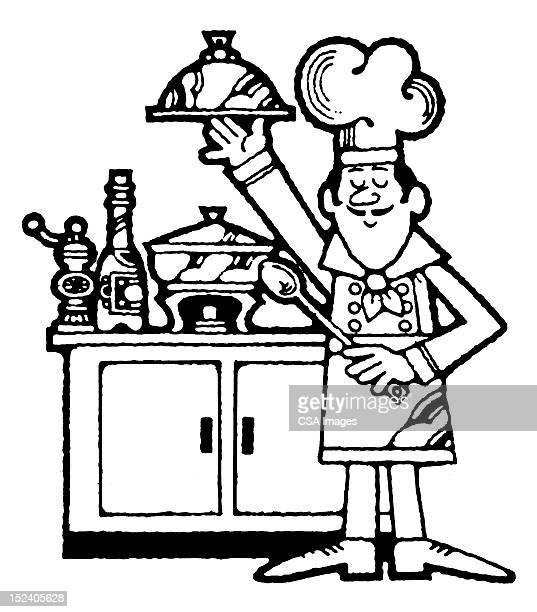 Cuisinier tenant un plateau
