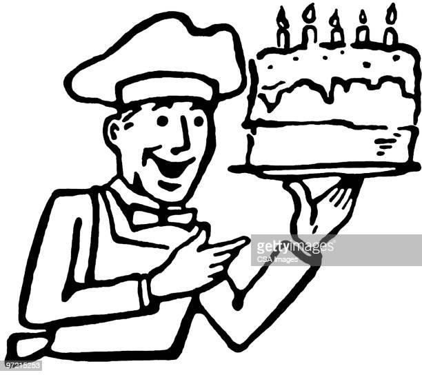 chef - cake stock illustrations