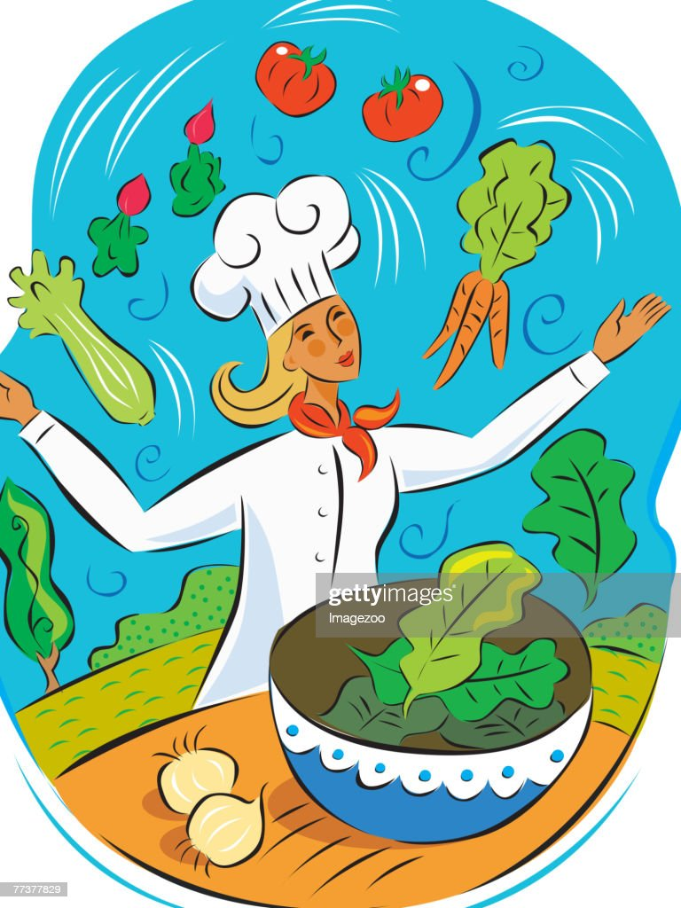 Chef juggling healthy food : Illustration