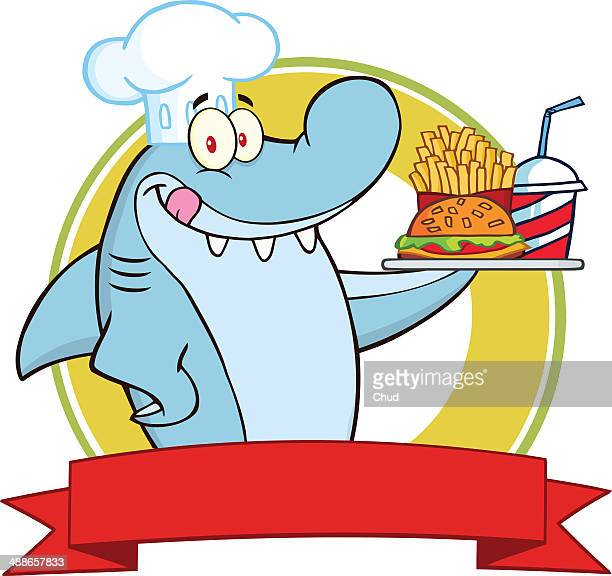 Chef Shark Logo Holding A Plate Of Fast Food