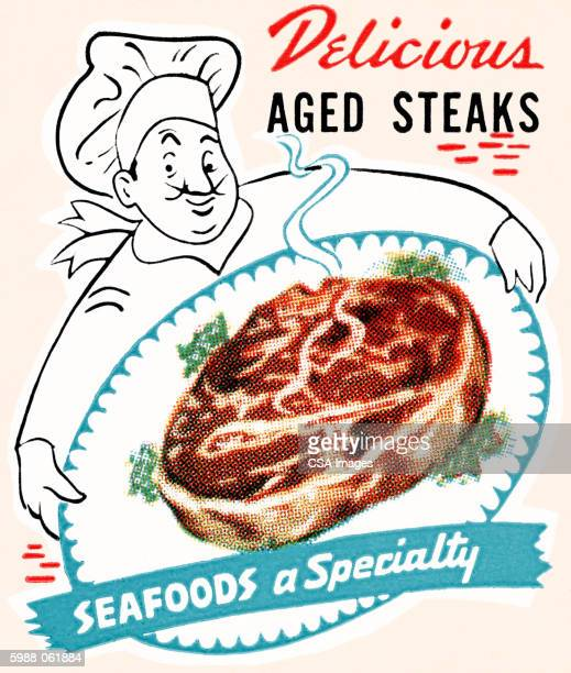 chef with steak on a platter - chef stock illustrations