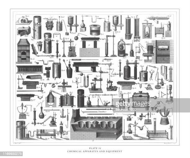 bildbanksillustrationer, clip art samt tecknat material och ikoner med kemisk apparatur och utrustning gravyr antik illustration, publicerad 1851 - generator