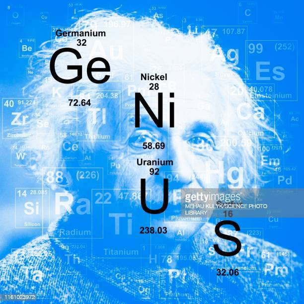 chemical elements genius, illustration - albert einstein stock illustrations