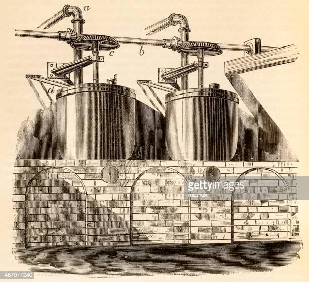 Chemical plant, 19 century technical illustration