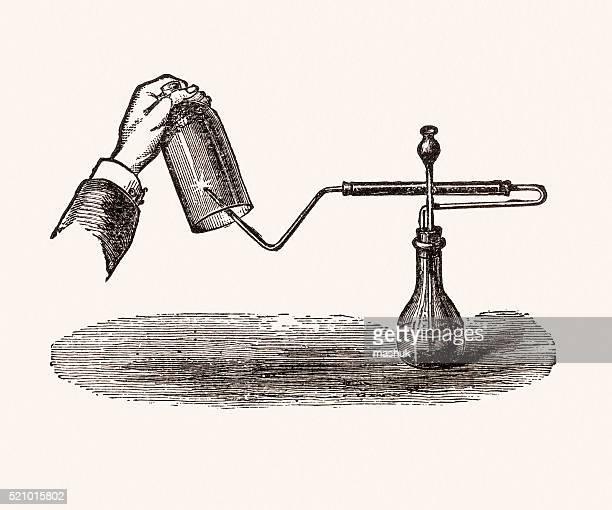 chemistry experiment, 19th century science illustration - enclosure stock illustrations
