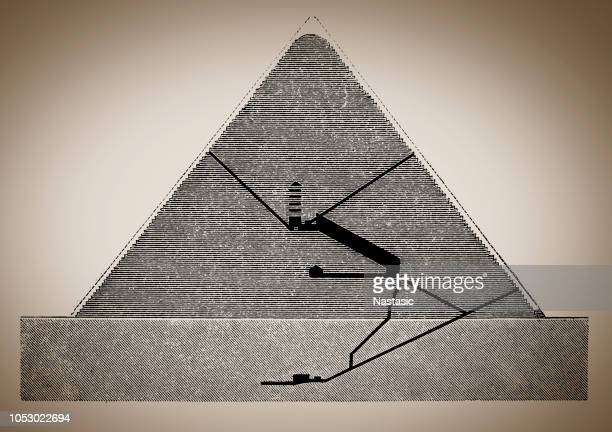 cheops pyramid section - giza stock illustrations