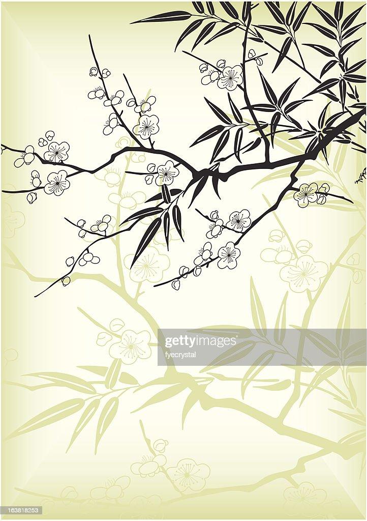 Kirschblute Und Bambus Vektorgrafik Getty Images