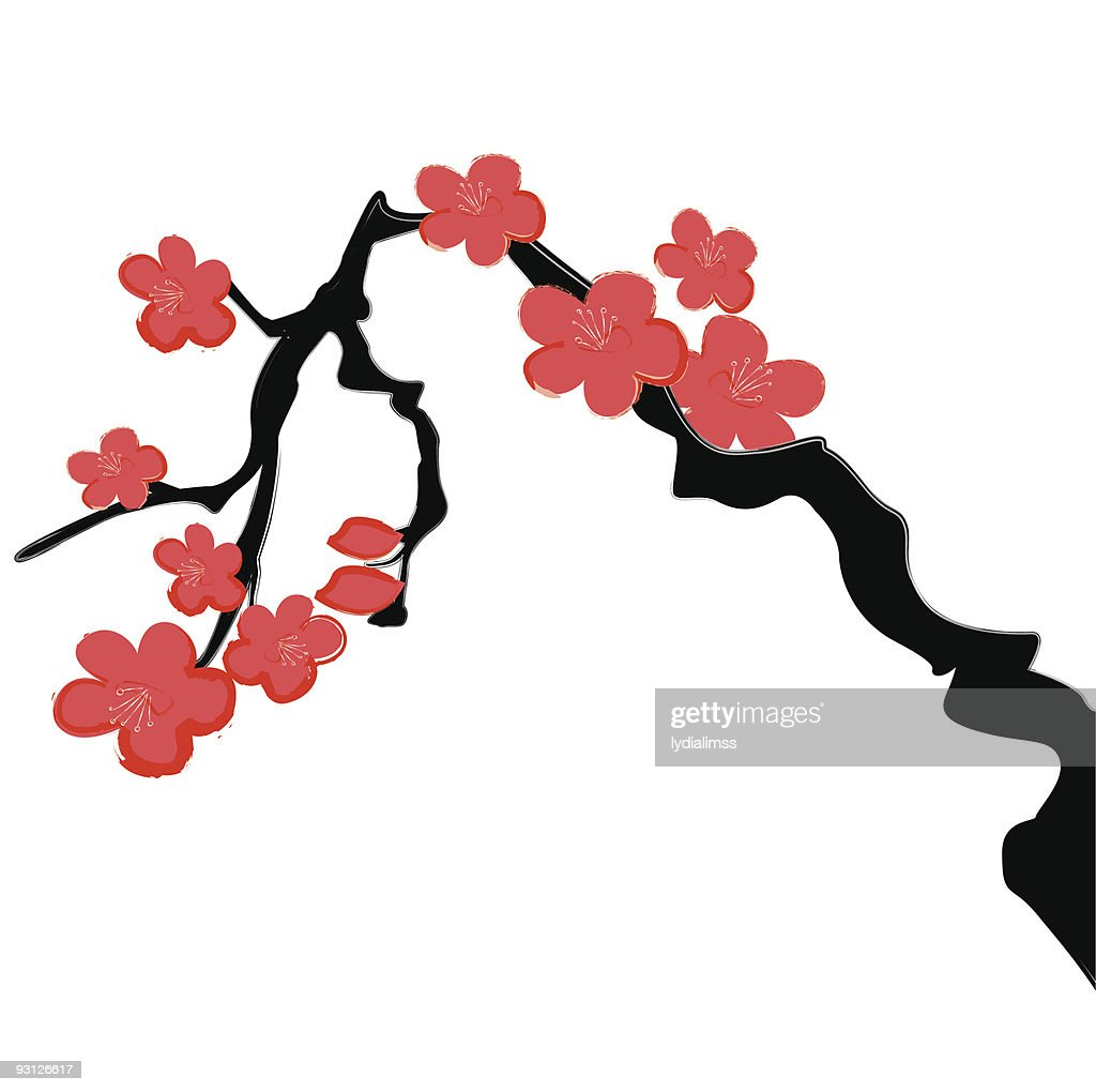 Cherry Blossom Calligraphy Painting