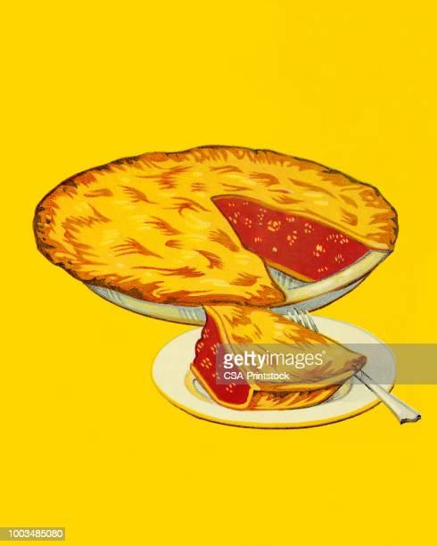 ilustrações, clipart, desenhos animados e ícones de torta de cereja - sobremesa