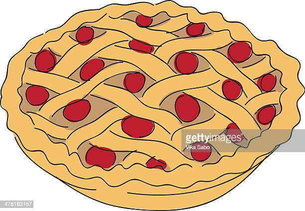 a cherry pie - pastry lattice stock illustrations, clip art, cartoons, & icons