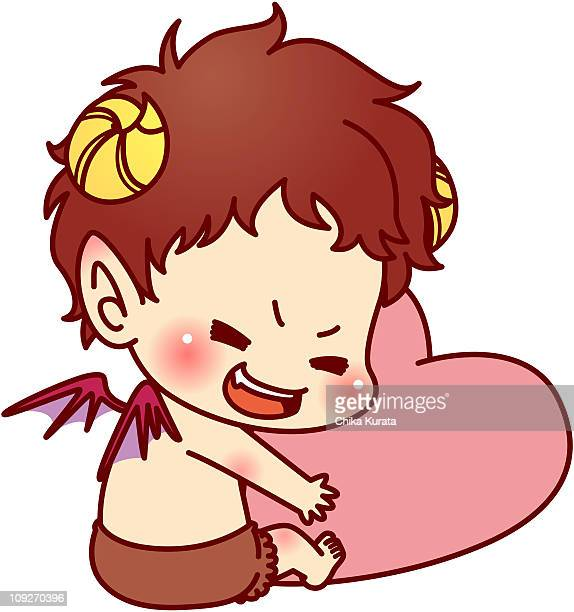 A cherub hugging a heart