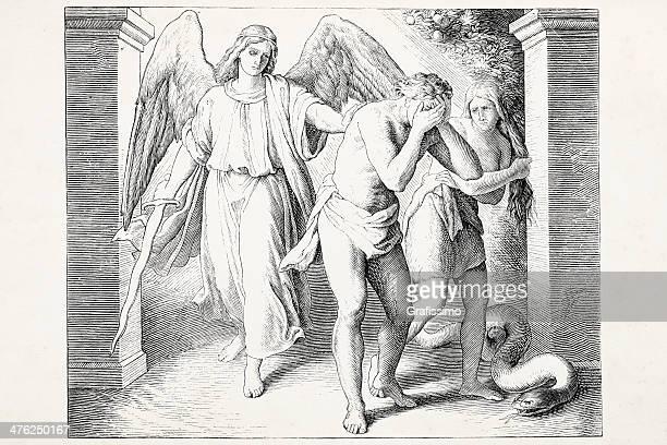 Cherubim angel expulsing Adam and Eve