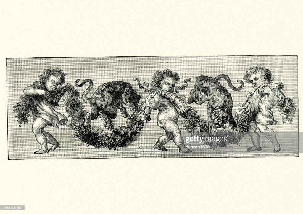 Putten und springenden Katzen : Stock-Illustration