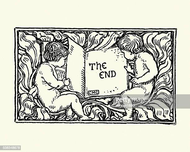 Cherubs holding a book open at the end page