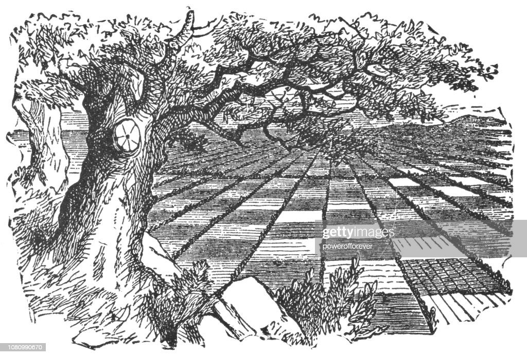 Chess Board Countryside in Through the Looking-Glass : Stock Illustration