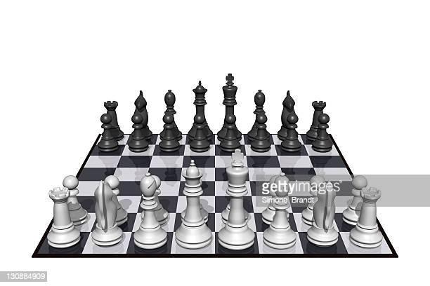chess figures on chess board, 3d illustration - チェス点のイラスト素材/クリップアート素材/マンガ素材/アイコン素材
