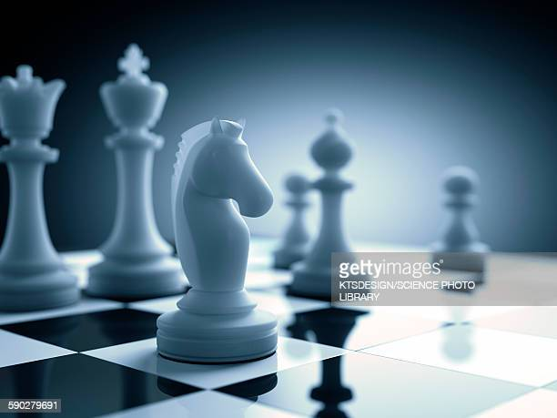 Chess piece on chess board, illustration