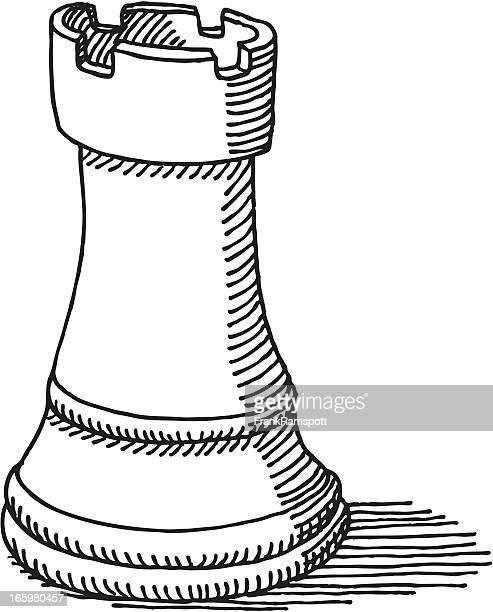 ilustraciones, imágenes clip art, dibujos animados e iconos de stock de pieza de ajedrez torre dibujo - torre pieza de ajedrez