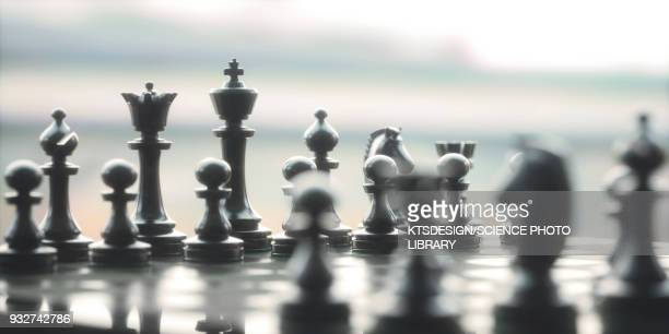 chess pieces on board, illustration - image technique stock illustrations