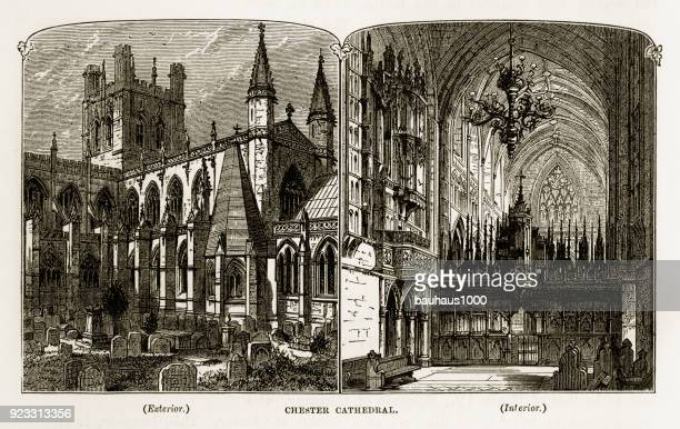chester cathedral in chester, england victorian engraving, 1840 - spire stock illustrations, clip art, cartoons, & icons