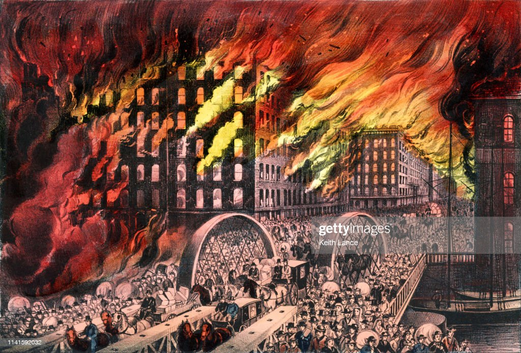 Chicago in Flames, 1871 : stock illustration