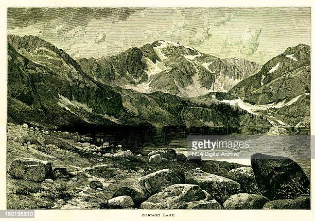 chicago lake at the foot of mount evans, colorado - colorido stock illustrations