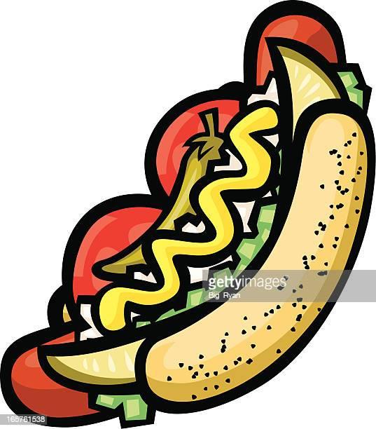 hot dogs im chicago-stil - hot dog stock-grafiken, -clipart, -cartoons und -symbole