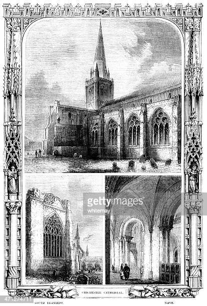 chichester cathedral - victorian illustration - steeple stock illustrations, clip art, cartoons, & icons