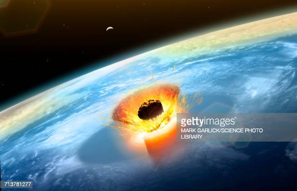 chicxulub asteroid impact - space and astronomy stock illustrations
